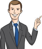 Smiling businessman pointing the finger Royalty Free Stock Photo