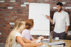 Smiling businessman pointing towards whiteboard Stock Images