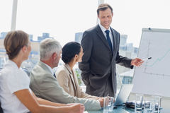 Smiling businessman pointing at whiteboard during a meeting Stock Image