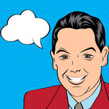 Smiling businessman, pop art style illustration Stock Photography