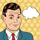 Smiling businessman, pop art style illustration Stock Photos