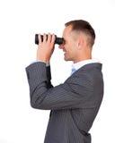 Smiling businessman predicting future success Stock Photography