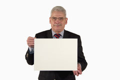 Smiling businessman presenting a picture board Stock Photography