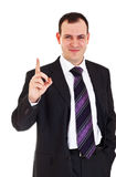 Smiling businessman raise finger up Stock Photography