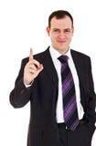 Smiling businessman raise finger up. On white background Stock Photography
