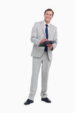 Smiling businessman ready to take notes Royalty Free Stock Photos