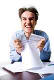 Smiling businessman ripping the contract Royalty Free Stock Images
