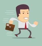 Smiling businessman running to work. Royalty Free Stock Photos