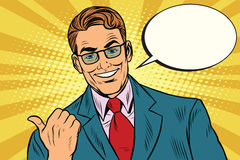 Smiling businessman showing big finger to the left royalty free illustration