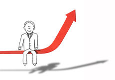 Illustration of confident financial man sitting on figure increase. Smiling businessman sitting on arrow showing improvement Royalty Free Stock Image