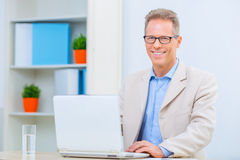 Smiling businessman sitting at his desk Royalty Free Stock Photos