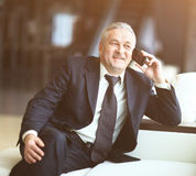 Smiling businessman sitting and talking on the phone Stock Photography