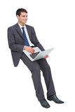 Smiling businessman sitting using a laptop Royalty Free Stock Images