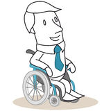 Smiling businessman sitting in wheelchair Royalty Free Stock Photos
