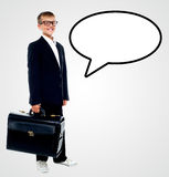 Smiling businessman with speech bubble Stock Image