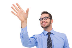 Smiling businessman standing with fingers spread out Royalty Free Stock Photos