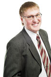 Smiling businessman in suit and glasses Stock Photography