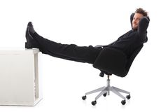 Smiling businessman taking a break Stock Photography