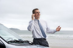 Smiling businessman talking on cell phone Stock Photo