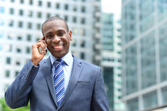 Smiling businessman talking on the phone Stock Images