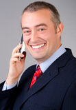 Smiling businessman talking on the phone Royalty Free Stock Photos