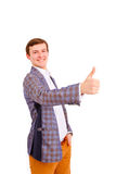 Smiling businessman with thumb up Royalty Free Stock Photos
