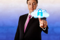 Smiling Businessman Touching A Locked Cloud Icon Stock Photos