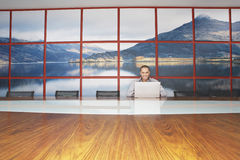 Smiling Businessman Using Laptop In modern Conference Room Stock Photo