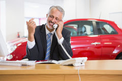 Smiling businessman using laptop on the phone Stock Photos