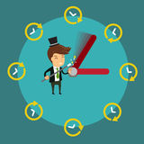 Smiling Businessman using magic wand to control  clock's hands Royalty Free Stock Photography