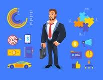 Smiling businessman vector Illustration of cartoon Stock Photos