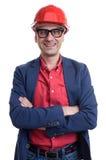 Smiling businessman wearing helmet Royalty Free Stock Image
