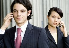 Smiling Businessman and Woman Royalty Free Stock Photography