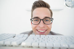Smiling businessman working on computer Stock Image