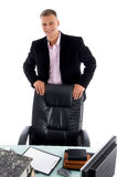 Smiling businessman in workplace Stock Photos