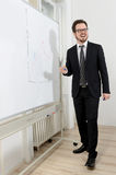Smiling businessman writing on a white board Royalty Free Stock Photo