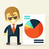 Smiling businesspeople shows good statistics. Stock Photo