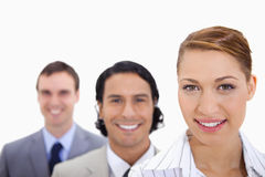Smiling businessteam standing in line Royalty Free Stock Photo
