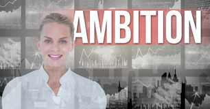 Smiling businesswoman with ambition text in background. Digital composite of Smiling businesswoman with ambition text in background Royalty Free Stock Photos