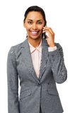 Smiling Businesswoman Answering Smart Phone Royalty Free Stock Images