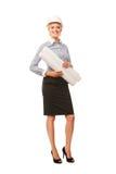 Smiling businesswoman architect holding blueprints Royalty Free Stock Photos