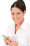 Smiling businesswoman attractive hold phone Royalty Free Stock Images