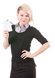 Smiling businesswoman with blank ID badge. Young successful business woman shows her badge Stock Image