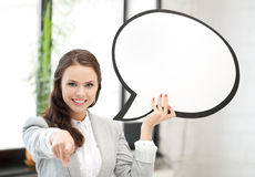 Smiling businesswoman with blank text bubble Stock Photos