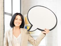 Smiling businesswoman with blank text bubble Royalty Free Stock Photography