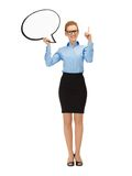 Smiling businesswoman with blank text bubble Stock Photography