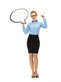 Smiling businesswoman with blank text bubble Stock Photo