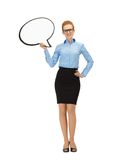 Smiling businesswoman with blank text bubble Royalty Free Stock Images
