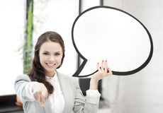 Smiling businesswoman with blank text bubble Stock Images