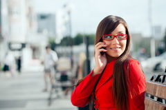 Smiling businesswoman  calling by phone Royalty Free Stock Photo